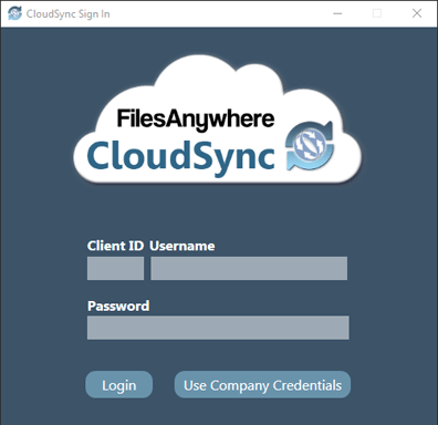 CloudSync Login Window